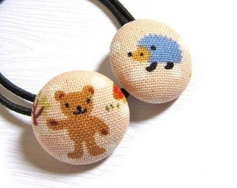 Button Ponytail Holders - Bear and Hedgehog