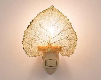 Real Cottonwood Leaf Dipped In 24k Gold Nightlight  - 24k Gold Leaves
