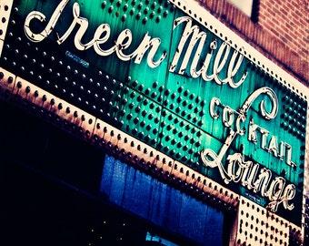 The Green Mill - Chicago wall decor print, urban wall art - emerald green, vintage lounge sign, bar decor, Chicago photograph, home decor