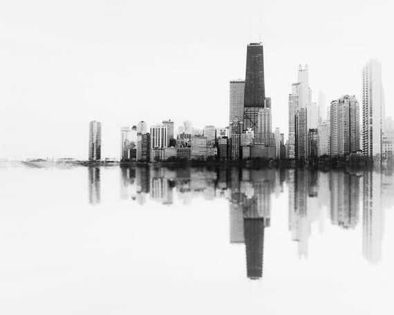 Chicago Skyline, Soundwave Art, City scape, Photography of Chicago, black and white, abstract wall art, landscape photograph, art prints