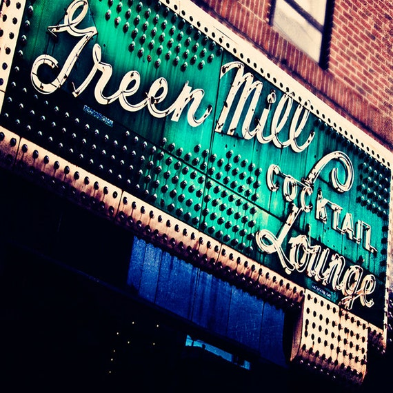 The Green Mill - Chicago wall decor print, urban wall art - emerald green, vintage lounge sign, bar decor, Chicago photograph, home decor