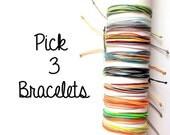Pick 3 multicolored string bracelets. Custom bracelets. Surf bracelets. Personalized jewelry. Thread bracelet. Wax string. Beach bracelets.