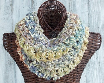 SALE Cowl crocheted in pastel colors with yellow pom texture, loose and casual chic fashion accessory for women