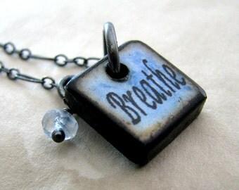 Charm Necklace, Yoga Charm Necklace, Sterling Silver Necklace, Breathe Charm Pendant, Topaz Gemstone Necklace - Breathe