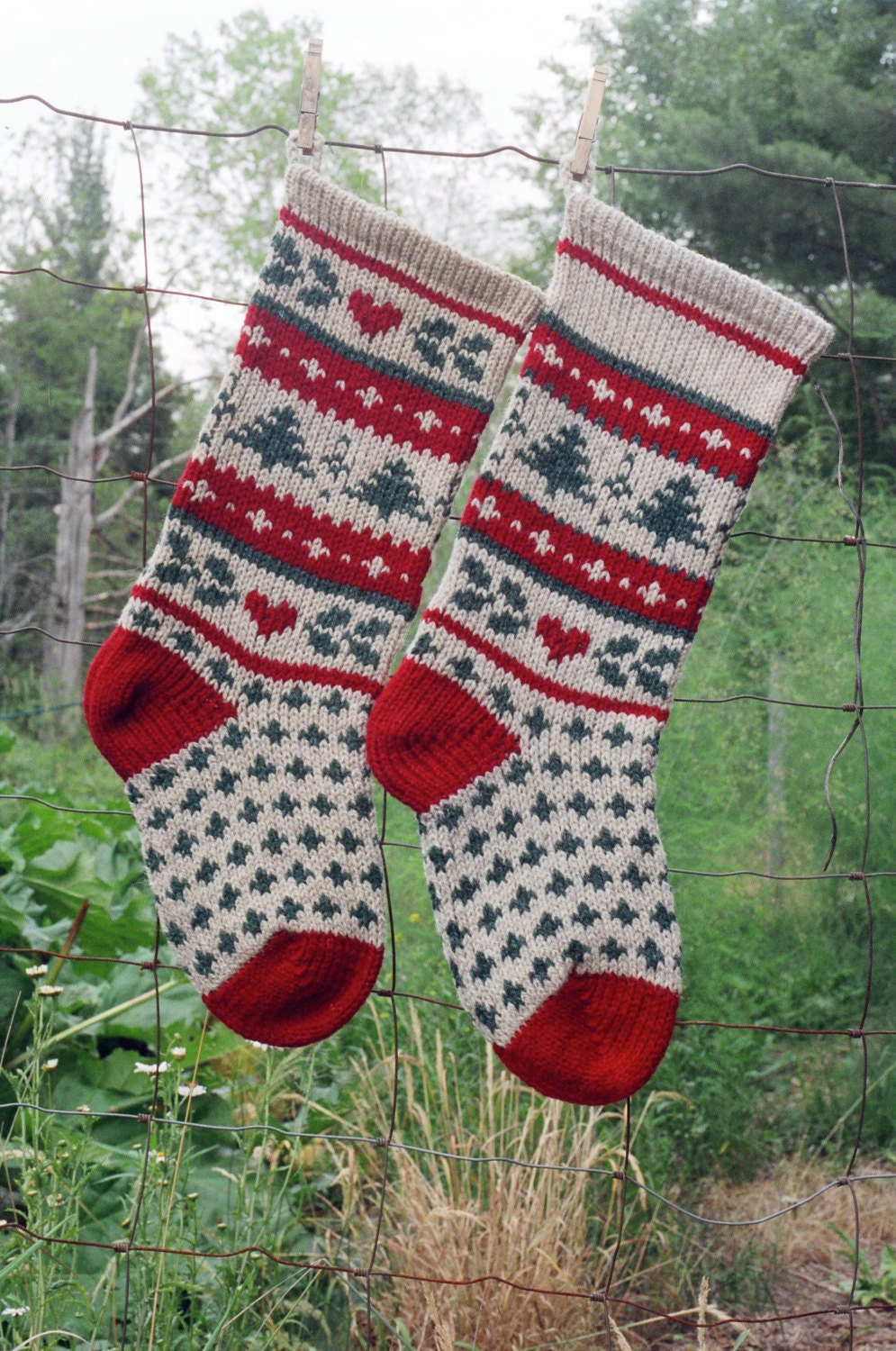 Christmas Stocking Knitting Pattern Circular Needles : Instant Download Christmas Stocking Knitting Pattern