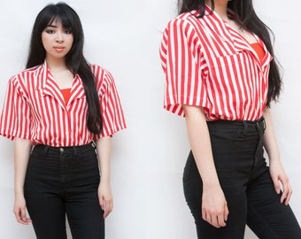 1980s Striped Chiffon Shoulder Padded Short Sleeve Button Up Blouse L