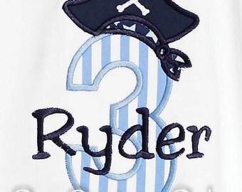 Pirate Birthday Shirt, Pirate Number, Monogrammed, Custom Fabrics, Girls Birthday Shirt, Shirt,Tank,Bodysuit,Romper, Gift