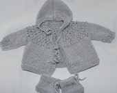 Newborn Baby Sweater Set, Hooded Sweater and matching Booties