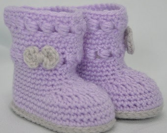 Baby Booties, Crochet Baby Boots, Booties with Bow