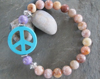 Morocco Agate & Mixed Gemstone Peace Sign Bracelet - Meditation/Yoga Jewelry