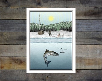 Ice Fishing 13x17.5in Giclée Print