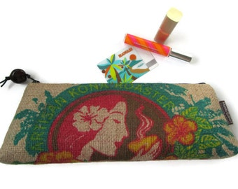 Burlap Zipper Clutch Purse. Hula Island Girl. Repurposed USA Coffee Bag. Handmade in Hawaii.