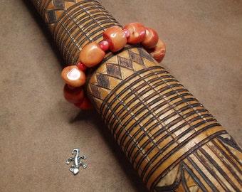 AAA Orange Coral Stretchy Bracelet