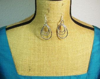 Handmade Stamped  Silver Loop Earrings