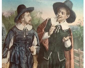 Glass lantern slide of two Puritan gentlemen