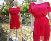 70s Dress - Vintage Dress - Red Dress - 70s Disco Dress - by j.b. Xpress with Asymmetrical Peplum and Bodice Overlay Size 8