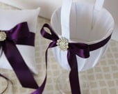 Wedding Flower Girl Basket White Plum Purple Customize with your Wedding Colors