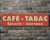 CAFÉ - TABAC / French Vintage Style Typographic Sign - 32x8 inches mounted canvas print