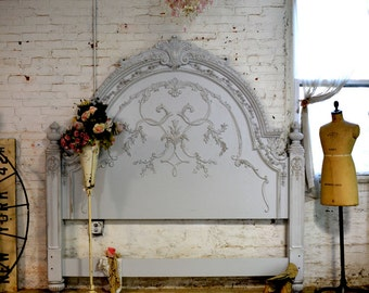 Painted Cottage Shabby Dove Grey Romance Bed Queen / King Headboard BD33