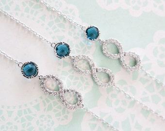 Infinity - Crystal Infinity Bracelet with Montana Crystal Bracelet, Love, Forever, bridesmaid bracelet, something blue