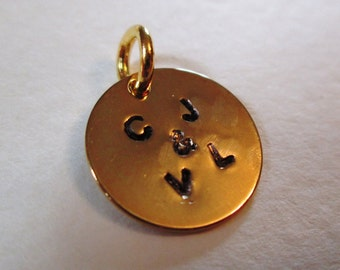 Personalized Gold Couples Charm , Stamped Custom Lovebirds Initials Disc 12mm
