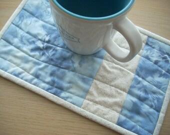 blue silver mist mug rugs - FREE SHIPPING