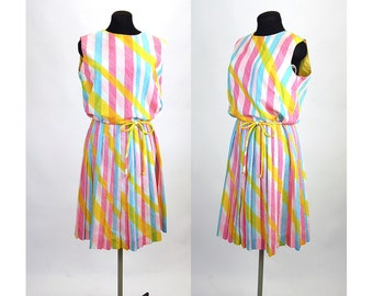 1950s dress pleated dress striped dress pink yellow blue back button Size L
