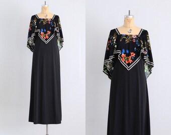 vintage 1970s dress • handkerchief dress • black 70s dress • 70s maxi dress