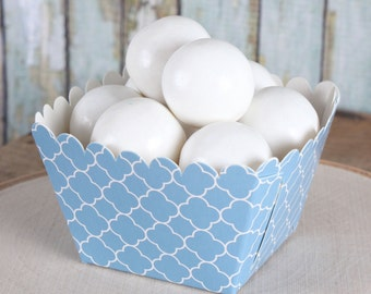 Sale Blue Wedding Quatrefoil Cupcake Cups, Square Wedding Favor Cups, Quatrefoil Candy Cups, Frozen Party Cups, Easter Candy Cups (12 ct)