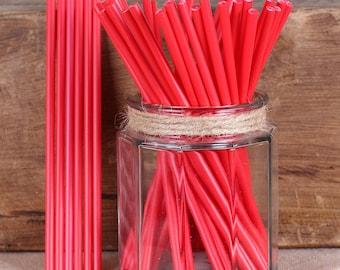"""6"""" Red Lollipop Sticks, Red Cake Pop Sticks, Sucker Sticks, Marshmallow Pop Sticks, Valentine's Lollipop Sticks, Valentine's Cake Pop Sticks"""