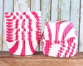 Pink Zebra Cupcake Liners, Pink Cupcake Liners, Pink Cupcake Wrappers, Animal Print Cupcake Liners, Zebra Cupcake Liners, Baking Cups (50)