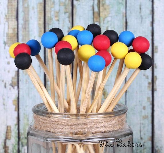Super Hero Lollipop Sticks, Cake Pops Sticks, Marshmallow Pop Sticks, Donut Skewers, Painted Rock Candy Sticks, Wooden Sticks (12)