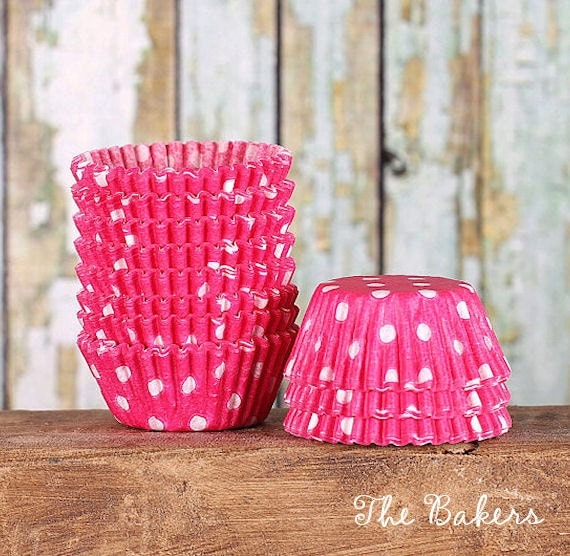 MINI Pink Polka Dot Cupcake Liners, Mini Pink Cupcake Wrappers, Pink Baking Cups, Pink Candy Cups, Pink Truffle Cups, Muffin Papers (100)