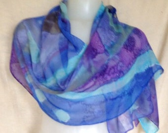 Many Blues scarf hand painted silk chiffon