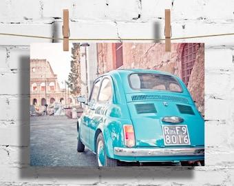 "Colosseum Rome and Vintage Italian FIAT 500 car in Rome Italy fine art photography italian symbol Roma blue 8""x12""  -  italy prints italian"