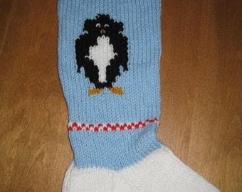 Christmas Stocking Penguin, Christmas Stocking, Knit Christmas Stocking, Personalized Christmas Stocking