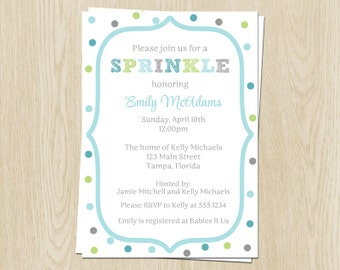 Baby Sprinkle Invitations, in Blue, Gray, and Green, Set of 10 Printed Invitations and Envelopes, FREE Shipping, SPDBY, Sprinkled Dots Boys