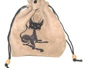 Adorable Black Cat on Beige Leather Pouch - Tarot, Oracle, Runes, Gaming Dice, Anything