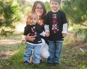 Black, White, Red All Over Tie Shirt-  Baby Toddler Boys - Perfect for Fall and Winter - Great for Christmas Hannukkah Valentine's Day