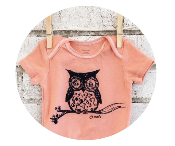 Peach Owl Baby Bodysuit, Cotton Infant Creeper, One Piece Snapsuit, light coral or custom colors.