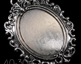 """40x30mm Antique Silver Setting - """"Enchantment VII"""" - 1 pc : sku 08.02.14.16 - Q14"""