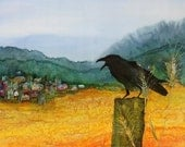 Raven and the Village 2 original batik on silk