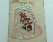 1919 Vintage Christmas Postcard Original Embossed Needlepoint Embroidered Holiday Bell Joyous