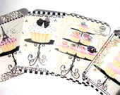 French Cupcake Gift Tags Set of 4 Pink And Black Eiffel Tower Bow Crown Paris