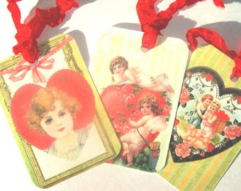 Green Valentine - Gift Tags - Set of 6 - Variety Valentines - Vintage Style - Hearts And Flowers - Romantic Tags - Valentine Tags -