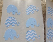 50 pc Light Blue and Chevron  Paper Elephant stickers Baby Shower stickers   New Baby    Birthday Stickers