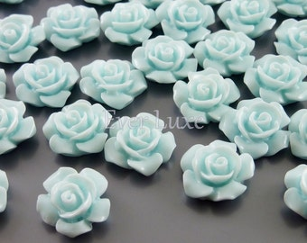 4 baby blue 13mm blossomed rose flower resin cabochons, cabs with flat backs for rings, earrings, jewelry 5009-BB (baby blue, 4 pcs)