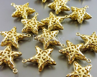 4 puffy star filigree charms / bright gold star brass charms for bracelets / jewelry supplies 1847-BG-LG (bright gold, LG, 4 pieces)