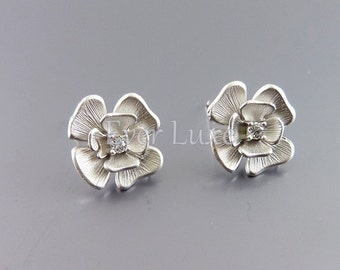 2 flower earring findings with sterling silver posts and clear cubic zirconia E1782-MR