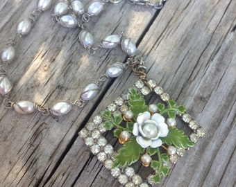 Vintage Upcycled Rhinestone Frame with White Enameled Flower Assemblage Necklace,OOAK,Repurposed,wedding